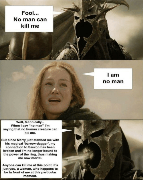 """The Ring, Power, and Been: Fool.  No man can  kill me  l am  no marn  Well, technically...  When I say """"no man"""" I'm  saying that no human creature can  kill me.  But since Merry just stabbed me with  his magical 'barrow-dagger', my  connection to Sauron has been  broken and I'm no longer bound to  the power of the ring, thus making  me now mortal.  Anyone can kill me at this point, it's  just you, a woman, who happens to  be in front of me at this particular  moment."""