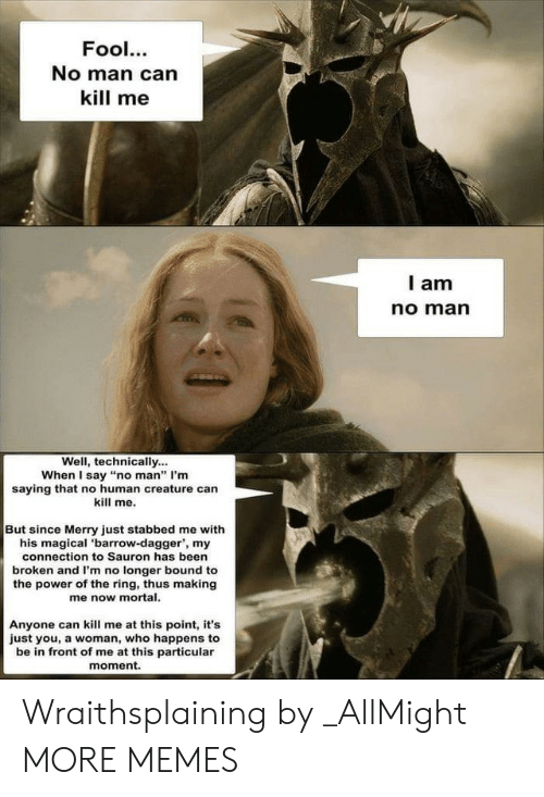 """Dank, Memes, and Target: Fool.  No man can  kill me  l am  no marn  Well, technically...  When I say """"no man"""" I'm  saying that no human creature can  kill me.  But since Merry just stabbed me with  his magical 'barrow-dagger', my  connection to Sauron has been  broken and I'm no longer bound to  the power of the ring, thus making  me now mortal.  Anyone can kill me at this point, it's  just you, a woman, who happens to  be in front of me at this particular  moment. Wraithsplaining by _AllMight MORE MEMES"""
