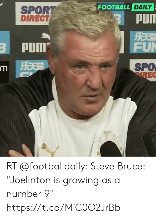 "Football, Memes, and 🤖: FOOTBALL DAILY  SPORT  DIRECT  PUIT  PUM  FU  SPO  IREC RT @footballdaily: Steve Bruce: ""Joelinton is growing as a number 9"" https://t.co/MiC0O2JrBb"