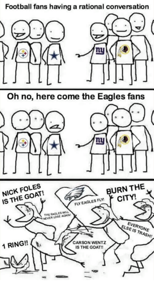 Philadelphia Eagles, Football, and Nfl: Football fans having a rational conversation  Oh no, here come the Eagles fans  LU  NICK FOLES  IS THE GOAT!  BURN THE  EAGLES FLMCITY!  THE EAGLES WILL  NEVER LOSE AGAIN  EVERYONE  ELSE IS TRASH!  1 RING!!  CARSON WENTZ  IS THE GOAT!