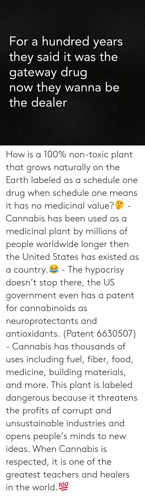 Hypocrisy: For a hundred years  they said it was the  gateway drug  now they wanna be  the dealer How is a 100% non-toxic plant that grows naturally on the Earth labeled as a schedule one drug when schedule one means it has no medicinal value?🤔 - Cannabis has been used as a medicinal plant by millions of people worldwide longer then the United States has existed as a country.😂 - The hypocrisy doesn't stop there, the US government even has a patent for cannabinoids as neuroprotectants and antioxidants. (Patent 6630507) - Cannabis has thousands of uses including fuel, fiber, food, medicine, building materials, and more. This plant is labeled dangerous because it threatens the profits of corrupt and unsustainable industries and opens people's minds to new ideas. When Cannabis is respected, it is one of the greatest teachers and healers in the world.💯