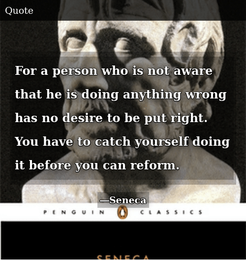 Who, Can, and You: For a person who is not aware that he is doing anything wrong has no desire to be put right. You have to catch yourself doing it before you can reform.