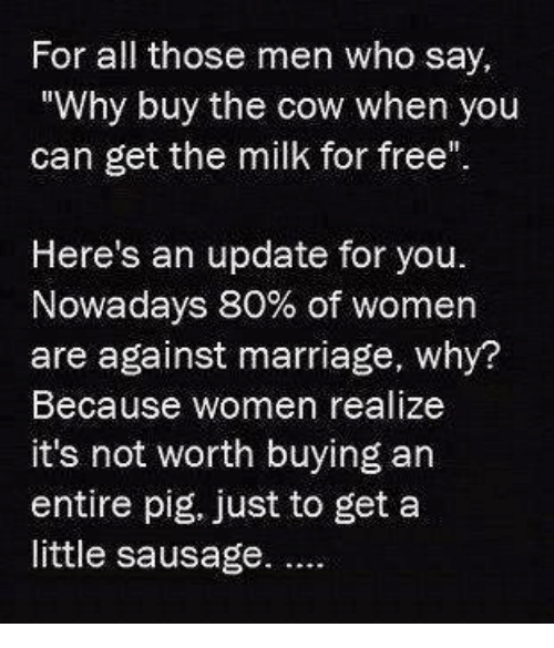 "Marriage, Memes, and Free: For all those men who say,  ""Why buy the cow when you  can get the milk for free""  Here's an update for you.  Nowadays 80% of women  are against marriage, why?  Because women realize  it's not worth buying an  entire pig, just to get a  little sausage."