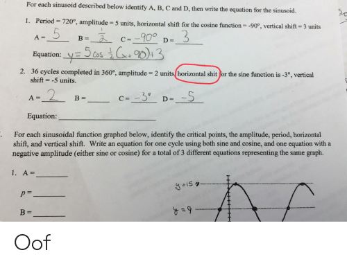 Facepalm, Period, and Shit: For each sinusoid described below identify A, B, C and D, then write the equation for the sinusoid.  1. Period 720°, amplitude  5 units, horizontal shift for the cosine function = -90°, vertical shift 3 units  - 900  A=  В -  С%D  D =  Equation: cos 3  2. 36 cycles completed in 360°, amplitude = 2 units horizontal shit for the sine function is -3°, vertical  shift = -5 units.  2  c=-3  В 3  A=  D =  1  Equation:  For each sinusoidal function graphed below, identify the critical points, the amplitude, period, horizontal  shift, and vertical shift. Write an equation for one cycle using both sine and cosine, and one equation with a  negative amplitude (either sine or cosine) for a total of 3 different equations representing the same graph.  .  1. A=  I5  1  HT Oof