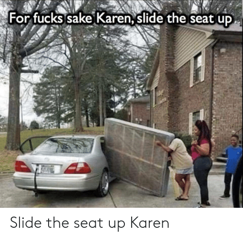 Sake, Seat, and For: For fucks sake Karen, slide the seat up Slide the seat up Karen
