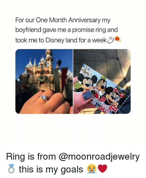 Disney, Goals, and Girl Memes: For our One Month Anniversary my  boyfriend gave me a promise ring and  took me to Disney land for a week Ring is from @moonroadjewelry💍 this is my goals 😭❤