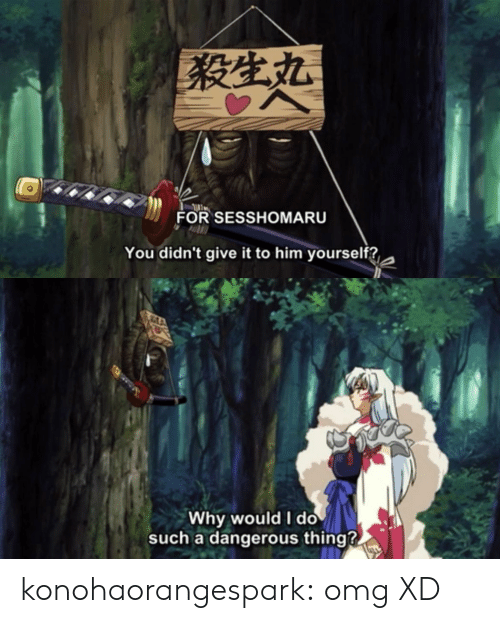 Omg, Target, and Tumblr: FOR SESSHOMARU  You didn't give it to him yourself?,   Why would I do  such a dangerous thing?. konohaorangespark:  omg XD