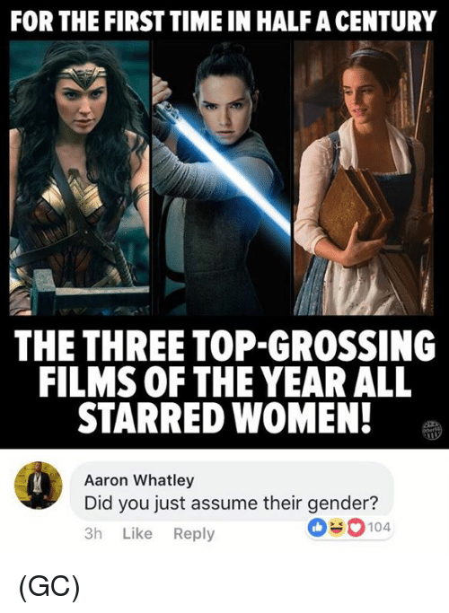 Memes, Time, and Women: FOR THE FIRST TIME IN HALF A CENTURY  THE THREE TOP-GROSSING  FILMS OF THE YEAR ALL  STARRED WOMEN!  Aaron Whatley  Did you just assume their gender?  3h Like Reply  0#0104 (GC)