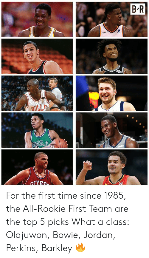 The All: For the first time since 1985, the All-Rookie First Team are the top 5 picks  What a class: Olajuwon, Bowie, Jordan, Perkins, Barkley 🔥