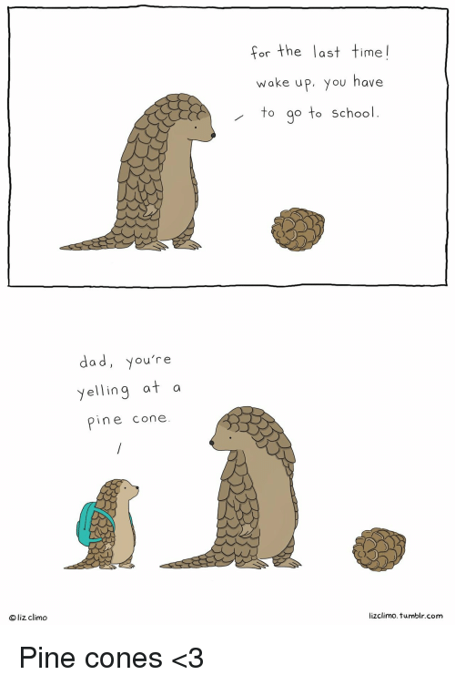 Lizclimo Tumblr: for the last time!  woke uP, you have  to go to School  dad, you're  yelling at a  pine cone.  a d  Oliz climo  lizclimo.tumblr.com <p>Pine cones &lt;3</p>