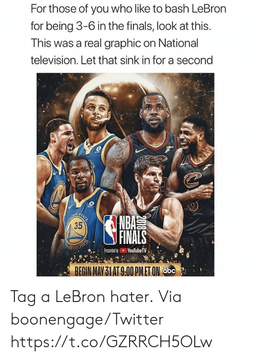 Abc, Finals, and Nba: For those of you who like to bash LeBron  for being 3-6 in the finals, look at this.  This was a real graphic on National  television. Let that sink in for a second  COLD  WARN  BOUREN  35  STATE  NBA  FINALS  ARRIOEP  YouTubeTV  Presented by  BEGIN MAY 31 AT 9.00 PMET ON abc  2018  TATE Tag a LeBron hater.  Via boonengage/Twitter https://t.co/GZRRCH5OLw