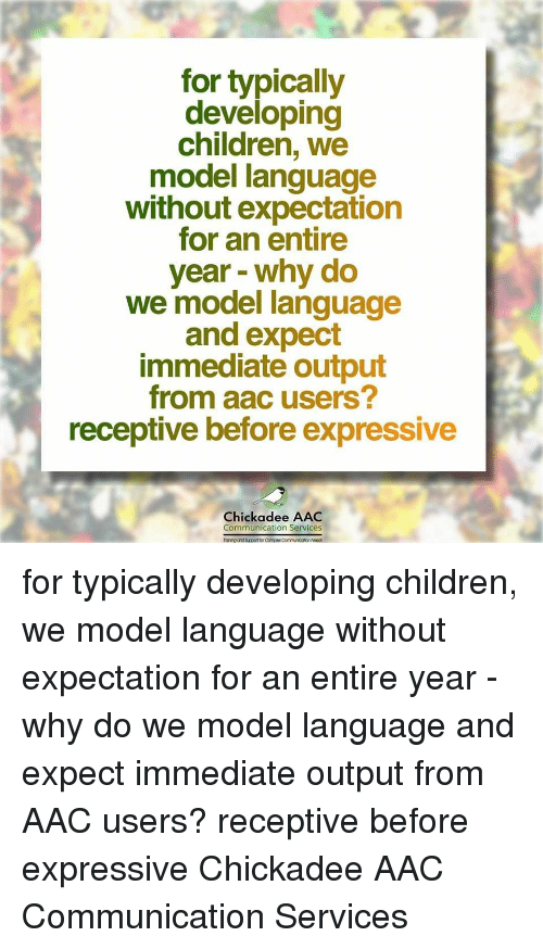 Children, Complex, and Language: for typically  developing  children, we  model language  without expectation  for an entire  year - why do  we model language  and expect  immediate output  from aac users?  receptive before expressive  Chickadee AAC  Communication Services  anihg and Sucport for Complex Communicotion Noec for typically developing children, we model language without expectation for an entire year - why do we model language and expect immediate output from AAC users? receptive before expressive Chickadee AAC Communication Services