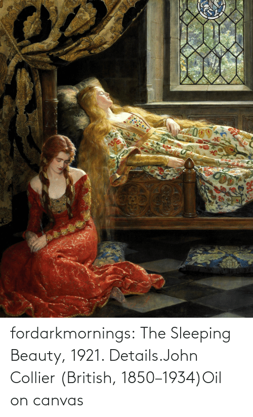 Sleeping Beauty: fordarkmornings:  The Sleeping Beauty, 1921. Details.John Collier (British, 1850–1934)Oil on canvas