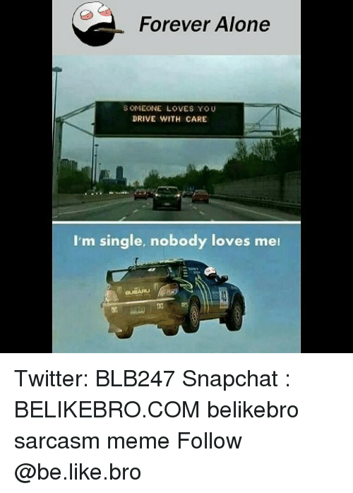 Being Alone, Be Like, and Meme: Forever Alone  S OMEONE LOVES YOU  DRIVE WITH CARE  I'm single, nobody loves mei  侞 Twitter: BLB247 Snapchat : BELIKEBRO.COM belikebro sarcasm meme Follow @be.like.bro