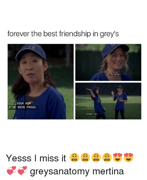 Memes, 🤖, and Miss: forever the best friendship in grey's  laughs  NO. SE WOULDN'T  YOUR MOM  D' VE BEEN PROUD.  PROBABLY NOT Yesss I miss it 😩😩😩😩😍😍💞💞 greysanatomy mertina