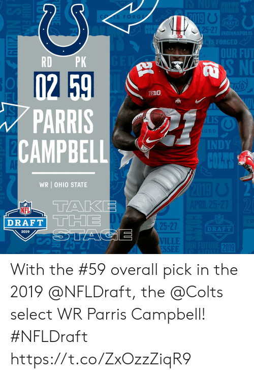 campbell: FORGE  DRAFT  5-27  INDIANAPOLIS  FORGED  OUR FUT  RD PK  B1G  PARRIS  CAMPBEL  LIS  INDY  AR  WR OHIO STATE  TAKE  NFL  DRAFT  25-27  VILLE  ESSEE  DRAFT  2019  2019 With the #59 overall pick in the 2019 @NFLDraft, the @Colts select WR Parris Campbell! #NFLDraft https://t.co/ZxOzzZiqR9
