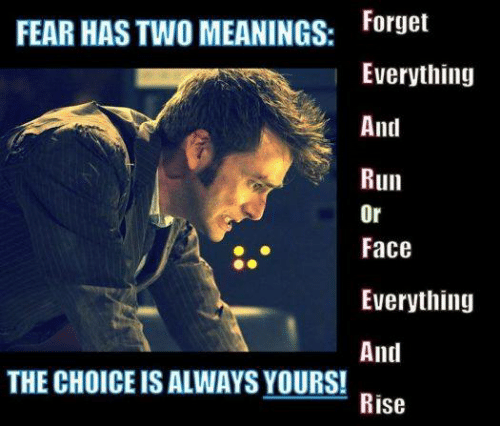 Memes, Run, and Fear: Forget  Everything  FEAR HAS TWO MEANINGS:  And  Run  Or  Face  Everything  And  THE CHOICE IS ALWAYS YOURS!  Rise
