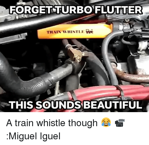Memes, Miguel, and Beautiful A: FORGET TURBO FLUTTER  TRAIN WHISTLE  THIS SOUNDS BEAUTIFUL A train whistle though 😂 📹:Miguel Iguel