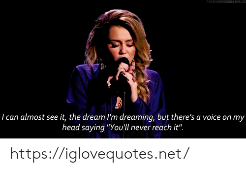 """Head, Voice, and Never: FORGIUENESSANDLOUEJM  29  I can almost see it, the dream I'm dreaming, but there's a voice on my  head saying """"You'll never reach it"""". https://iglovequotes.net/"""