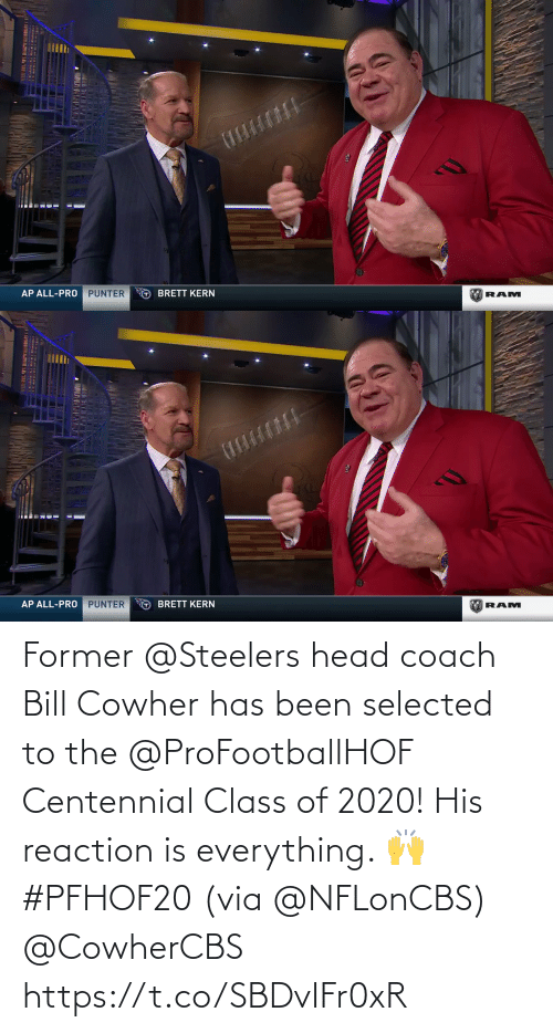 Has: Former @Steelers head coach Bill Cowher has been selected to the @ProFootballHOF Centennial Class of 2020!  His reaction is everything. 🙌 #PFHOF20 (via @NFLonCBS) @CowherCBS https://t.co/SBDvIFr0xR