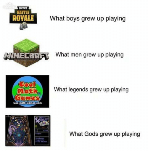 Battle Royale, Boys, and Legends: FORTHITE  BATTLE  ROYALE  What boys grew up playing  What men grew up playing  Mat  ER)  What legends grew up playing  Coolmath-Gamos.com  What Gods grew up playing