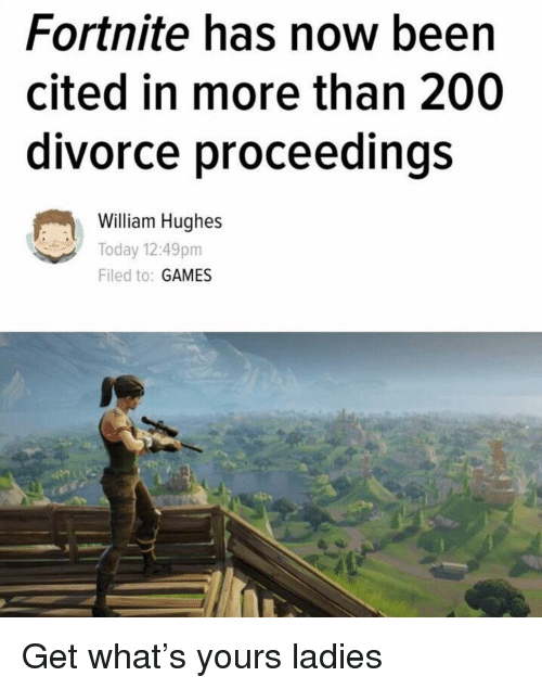 Bailey Jay, Funny, and Games: Fortnite has now been  cited in more than 200  divorce proceedings  William Hughes  Today 12:49pm  Filed to: GAMES Get what's yours ladies
