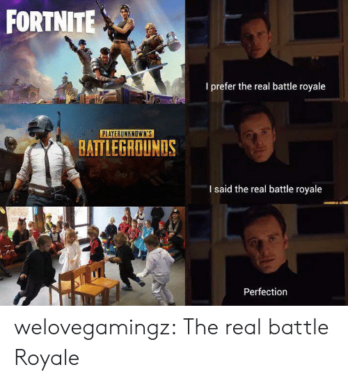 Tumblr, Blog, and The Real: FORTNITE  I prefer the real battle royale  PLAYERUNKNOWN'S  BATTLEGROUNDS  I said the real battle royale  Perfection welovegamingz:  The real battle Royale