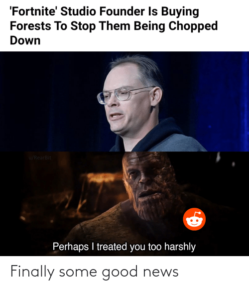studio: 'Fortnite' Studio Founder Is Buying  Forests To Stop Them Being Chopped  Down  u/RearBit  Perhaps I treated you too harshly Finally some good news