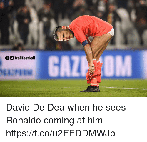 Memes, Ronaldo, and 🤖: fOTrollFootball David De Dea when he sees Ronaldo coming at him https://t.co/u2FEDDMWJp