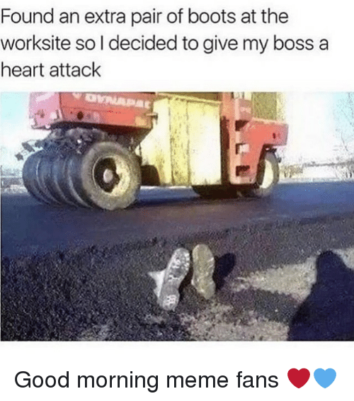 Meme, Memes, and Good Morning: Found an extra pair of boots at the  worksite so l decided to give my boss a  heart attack Good morning meme fans ❤️💙