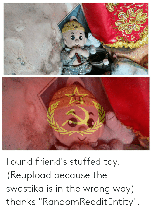 """swastika: Found friend's stuffed toy. (Reupload because the swastika is in the wrong way) thanks """"RandomRedditEntity""""."""