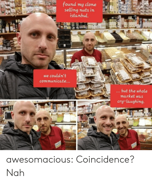 Clone: found my clone  selling nuts in  istanbul.  we couldn't  communicate...  ...but the whole  market was  cry-laughing.  DOG  DOG awesomacious:  Coincidence? Nah