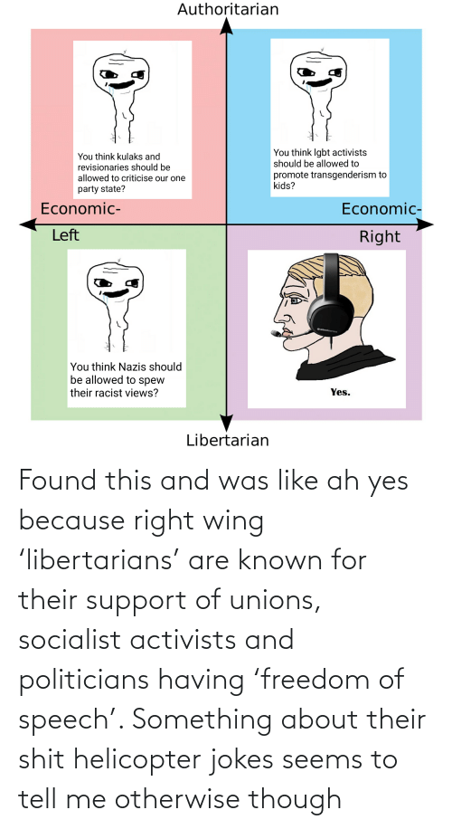 Politicians: Found this and was like ah yes because right wing 'libertarians' are known for their support of unions, socialist activists and politicians having 'freedom of speech'. Something about their shit helicopter jokes seems to tell me otherwise though