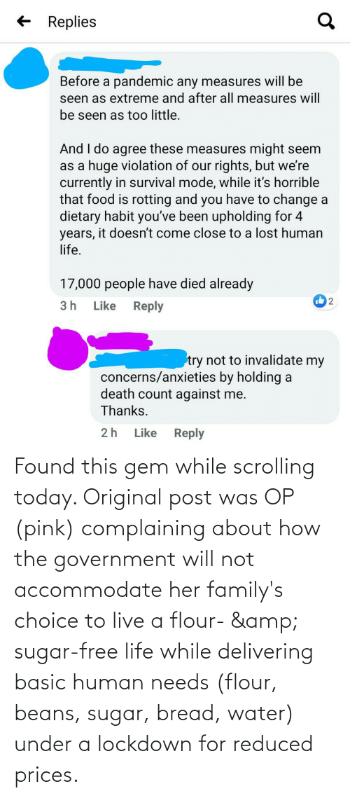 basic: Found this gem while scrolling today. Original post was OP (pink) complaining about how the government will not accommodate her family's choice to live a flour- & sugar-free life while delivering basic human needs (flour, beans, sugar, bread, water) under a lockdown for reduced prices.