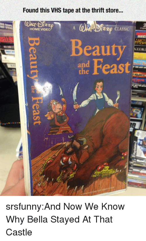 home video: Found this VHS tape at the thrift store...  122  HOME VIDEO  220 CLASSIC  Beauty  and srsfunny:And Now We Know Why Bella Stayed At That Castle