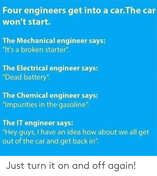"car: Four engineers get into a car.The car  won't start.  The Mechanical engineer says:  ""It's a broken starter"".  The Electrical engineer says:  ""Dead battery"".  The Chemical engineer says:  ""Impurities in the gasoline"".  The IT engineer says:  ""Hey guys, I have an idea how about we all get  out of the car and get back in"". Just turn it on and off again!"