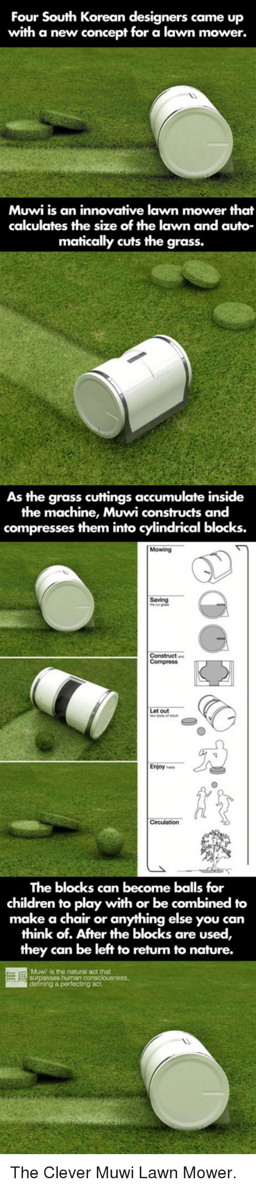 lawn mower: Four South Korean designers came up  with a new concept for a lawn mower.  Muwi is an innovative lawn mower that  calculates the size of the lawn and auto  matically cuts the grass.  As the grass cuttings accumulate inside  the machine, Muwi constructs and  compresses them into cylindrical blocks.  Mowing  Saving  out  Enjoy ee  The blocks can become balls for  children to play with or be combined to  make a chair or anything else you can  think of. After the blocks are used,  they can be left to return to nature.  Muwi is the natural act that  g a perfecting act <p>The Clever Muwi Lawn Mower.</p>