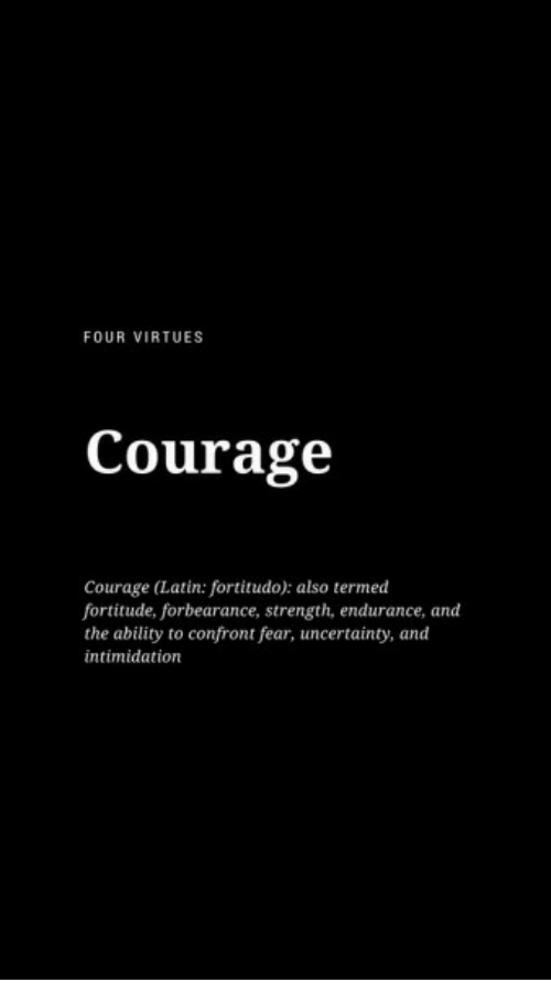Ability, Courage, and Fear: FOUR VIRTUES  Courage  Courage (Latin: fortitudo): also termed  fortitude, forbearance, strength, endurance, and  the ability to confront fear, uncertainty, and  intimidation