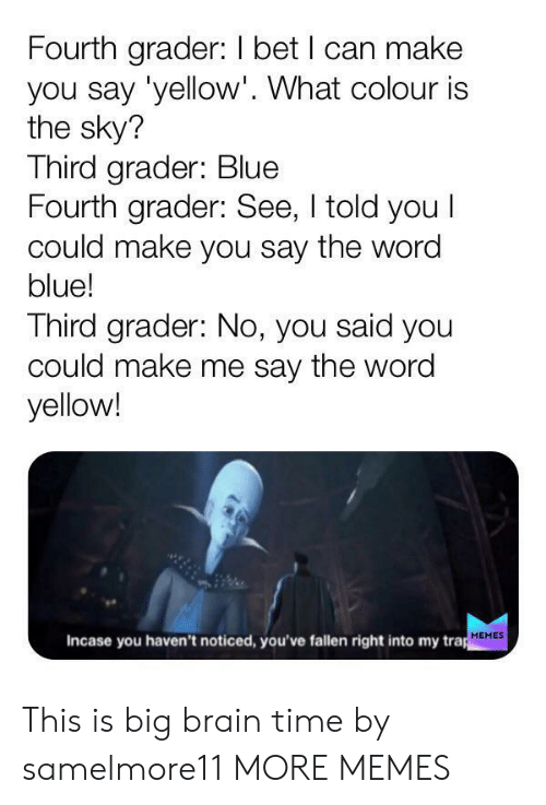 Dank, I Bet, and Memes: Fourth grader: I bet I can make  you say 'yellow'. What colour is  the sky?  Third grader: Blue  Fourth grader: See, I told you I  could make you say the word  blue!  Third grader: No, you said you  could make me say the word  yellow!  Incase you haven't noticed, you've fallen right into my trap  MEMES This is big brain time by samelmore11 MORE MEMES