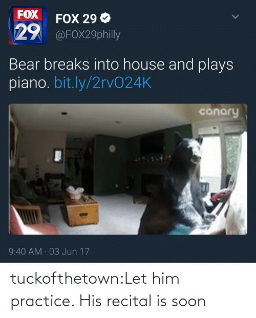 Bear: FOX  29  FOX 29 Ф  @FOX29philly  Bear breaks into house and plays  piano. bit.ly/2rvO24K  canary  9:40 AM 03 Jun 17 tuckofthetown:Let him practice. His recital is soon