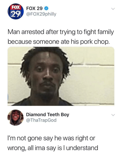 Family, Diamond, and Fight: FOX  29  FOX 29  FOX29philly  Man arrested after trying to fight family  because someone ate his pork chop.  Diamond Teeth Boy  @ThaTrapGod  I'm not gone say he was right or  wrong, all ima say is l understand
