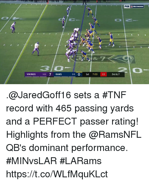 Memes, Rams, and Record: FOX  3 O  VIKINGS 11 7 RAMS  1-11  30 O st 7:03 03 3rd & 7 .@JaredGoff16 sets a #TNF record with 465 passing yards and a PERFECT passer rating!  Highlights from the @RamsNFL QB's dominant performance. #MINvsLAR #LARams https://t.co/WLfMquKLct