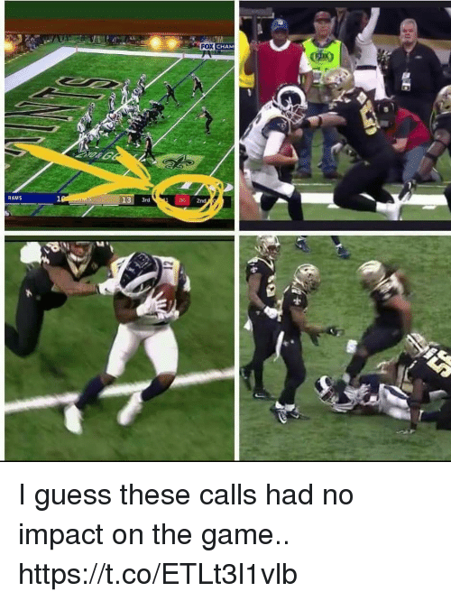 Football, Nfl, and Sports: FOX CHAM  RAMS  3rd  00 2nd  141 I guess these calls had no impact on the game.. https://t.co/ETLt3l1vlb