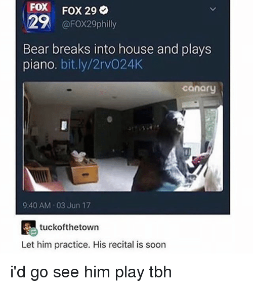 Memes, Soon..., and Tbh: FOX FOX 29  @FOX29philly  Bear breaks into house and plays  piano. bit.ly/2rvO24K  cánary  9:40 AM 03 Jun 17  tuckofthetown  Let him practice. His recital is soon i'd go see him play tbh