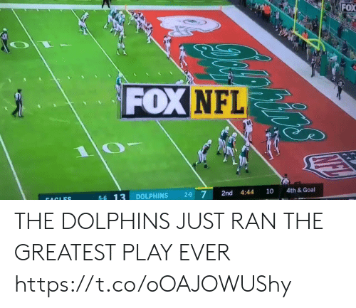 Football, Nfl, and Sports: FOX  FOX NFL  4th& Goal  10  4:44  2-9 7  2nd  DOLPHINS  5-6 13  FACLES THE DOLPHINS JUST RAN THE GREATEST PLAY EVER  https://t.co/oOAJOWUShy