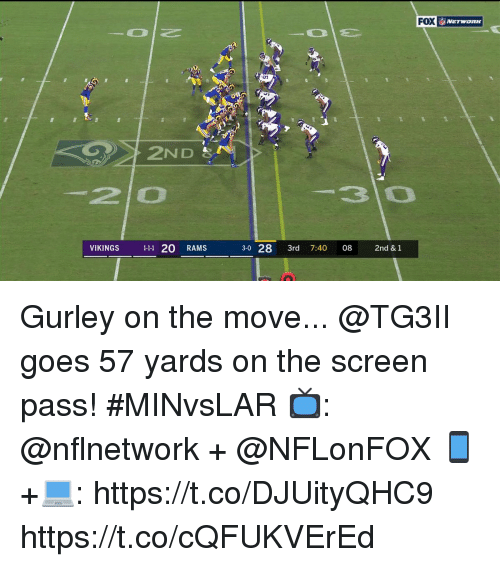 Memes, Rams, and Vikings: FOX  İ, NETWORK  2ND  2 0  30  VIKINGS 111 20 RAMS  3-0 28 3rd 7:40 08 2nd &1 Gurley on the move...  @TG3II goes 57 yards on the screen pass! #MINvsLAR  📺: @nflnetwork + @NFLonFOX 📱+💻: https://t.co/DJUityQHC9 https://t.co/cQFUKVErEd