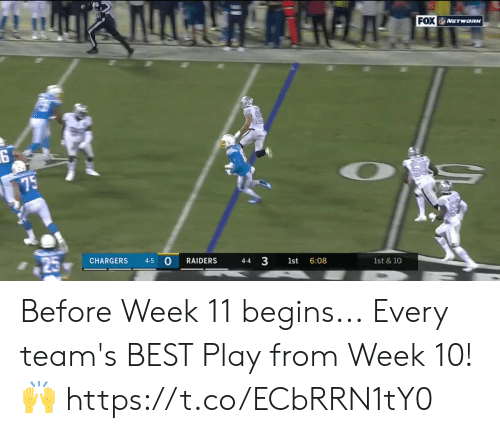 Memes, Best, and Chargers: FOX NETWORK  75  CHARGERS  4-5  RAIDERS  4-4  1st  6:08  1st & 10  3 Before Week 11 begins...  Every team's BEST Play from Week 10! 🙌 https://t.co/ECbRRN1tY0