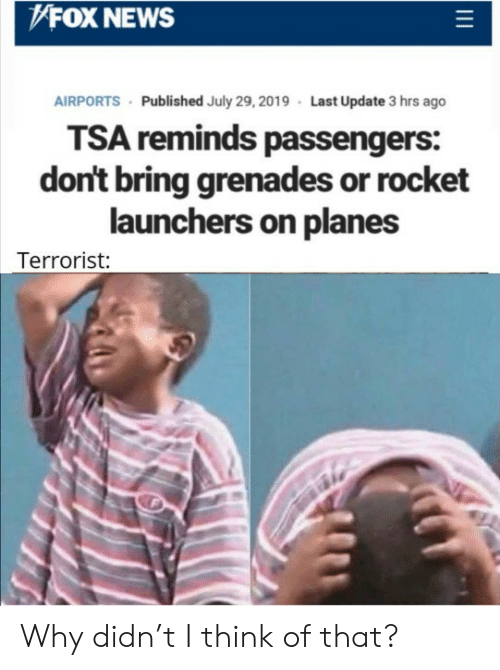Grenades: FOX NEWS  AIRPORTS Published July 29, 2019 Last Update 3 hrs ago  TSA reminds passengers:  don't bring grenades or rocket  launchers on planes  Terrorist: Why didn't I think of that?