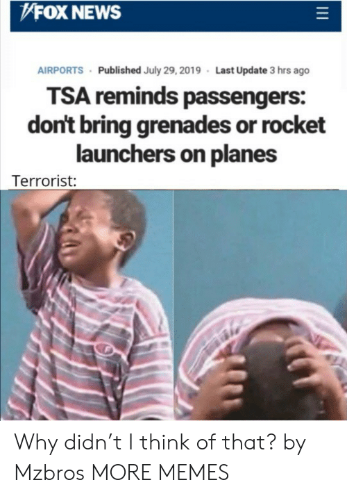 Grenades: FOX NEWS  AIRPORTS Published July 29, 2019 Last Update 3 hrs ago  TSA reminds passengers:  don't bring grenades or rocket  launchers on planes  Terrorist: Why didn't I think of that? by Mzbros MORE MEMES