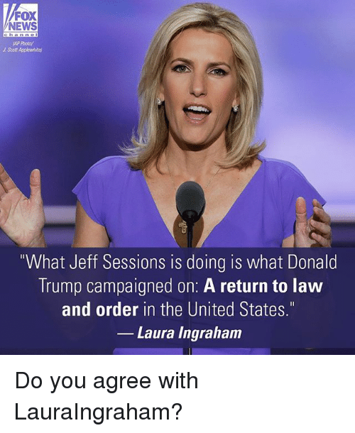 """Donald Trump, Memes, and News: FOX  NEWS  AP Photo/  J Scott Applewhitel  """"What Jeff Sessions is doing is what Donald  Trump campaigned on: A return to law  and order in the United States.""""  Laura Ingraham Do you agree with LauraIngraham?"""
